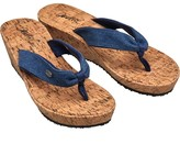 Animal Womens Susie Cork Wedge Flip Flops India Ink Blue