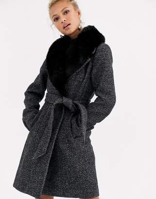 Forever New faux fur wrap midi coat in salt and pepper-Black