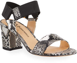 Neiman Marcus Snake-Embossed Block Heel Sandals
