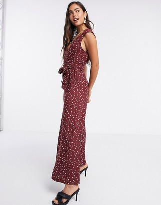 Liquorish sleeveless jumpsuit in burgundy bird print