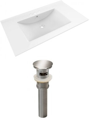 "American Imaginations Ceramic 36"" Single Bathroom Vanity Top Faucet Mount: 4"" Centers"