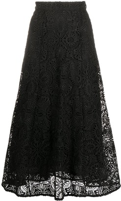 MICHAEL Michael Kors A-line embroidered flared midi skirt