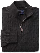Charles Tyrwhitt Charcoal Cotton Cashmere Cable Zip Neck Cotton/Cashmere Sweater Size Small