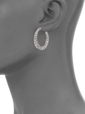 """John Hardy Classic Chain Sterling Silver Hoop Earrings/0.8"""""""