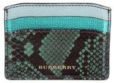 Burberry Snakeskin-Trimmed Leather Cardholder