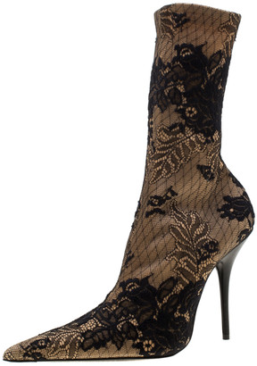 Balenciaga Beige Fabric And Black Floral Lace Pointed Toe Mid Calf Boots Size 39