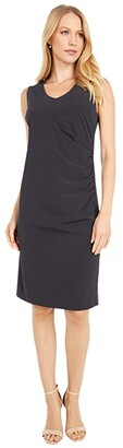 Nic+Zoe Tech Stretch Ruche Dress (Black Onyx) Women's Clothing