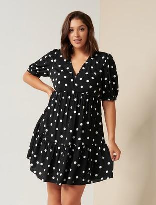 Forever New Ingrid Curve Smock Mini Dress - Dark Noir Spot - 16