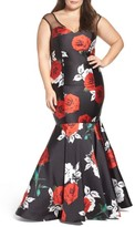 Mac Duggal Plus Size Women's Rose Print Mermaid Gown