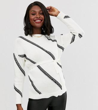 Mama Licious Mamalicious maternity chunky stitching detail sweater in white