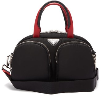 Prada Triangle Logo-plaque Zip-pocket Bowling Bag - Black Red