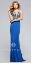 Faviana Beaded Plunging Illusion Sweetheart Prom Dress