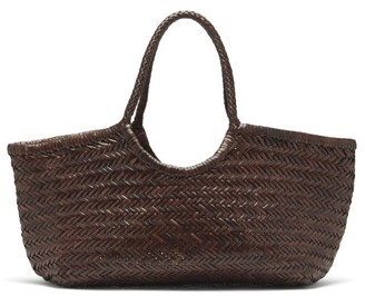 DRAGON DIFFUSION Nantucket Woven-leather Basket Bag - Dark Brown