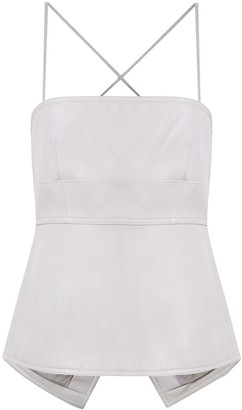 Proenza Schouler White Label Heavy Matte Leather Strappy Top