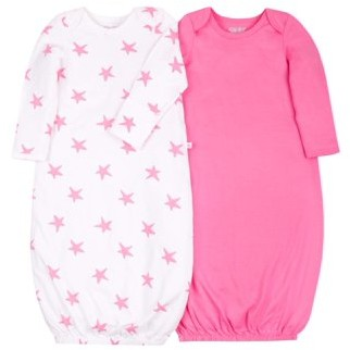 Little Star Organic Newborn Baby Girl Long Sleeve True Brights Gowns Pajamas, 2-Pack