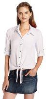 Amy Byer A. Byer Juniors High Low Button Up Shirt