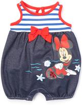 Children's Apparel Network Blue & White Stripe Minnie Mouse Romper - Infant