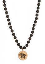 Wendy Mink Frosted Black Onyx and Elephant Necklace