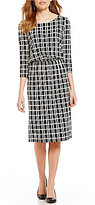 Preston & York Lucile 3/4 Sleeve Grid Lines Blouson Dress
