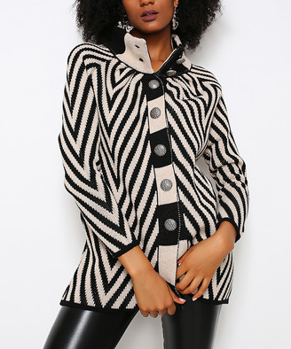 Hopoi HOPOI Women's Cardigans Stone - Stone & White Diagonal Stripe Wool-Blend Funnel Collar Cardigan - Women