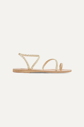 Ancient Greek Sandals Eleftheria Braided Metallic Leather Sandals - Gold