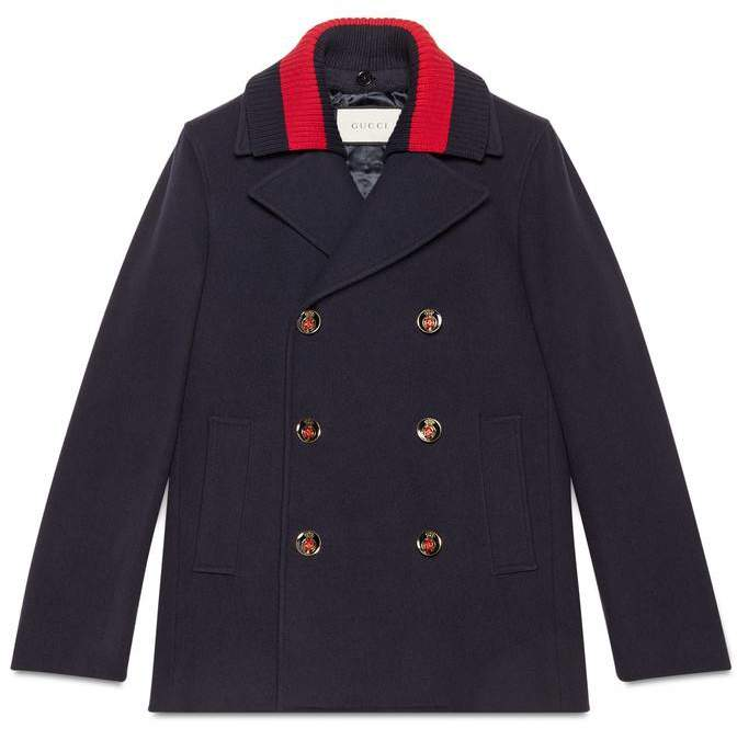 Gucci Wool pea coat with Web