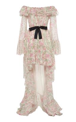 Giambattista Valli Off-The-Shoulder Asymmetric Silk-Chiffon Maxi Dress