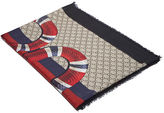 Gucci Men's Serpent Gg Jacquard Scarf In Black And Beige