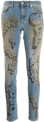 Off-White Graffiti Print Skinny Jeans