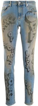 Off-White Off White graffiti print skinny jeans