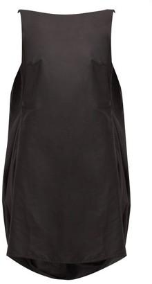 Marques Almeida Marques'almeida - Gathered Scoop-back Balloon-hem Silk Dress - Womens - Black
