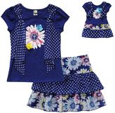 Dollie & Me floral dot top & scooter set - girls 4-6x