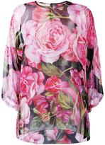 Dolce & Gabbana rose print sheer blouse