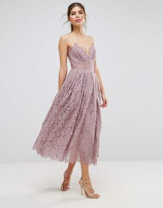 Asos Design Lace Cami Midi Prom Dress-Purple