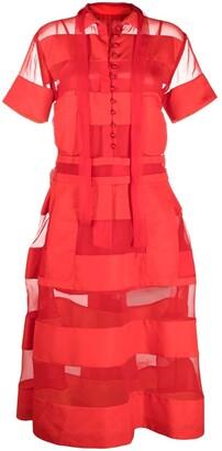 Sacai Sheer Panelled Shirt Dress