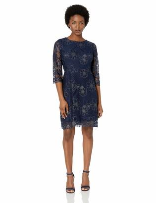 Gabby Skye Women's Petite 3/4 Sleeve Lace A-Line Dress