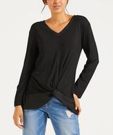 Simple By Suzanne Betro Simple by Suzanne Betro Women's Tunics 101BLACK - Black Satin-Contrast Twist-Hem Tunic - Women & Plus