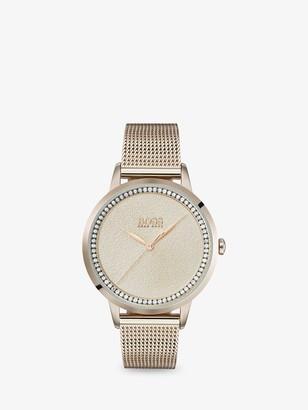 HUGO BOSS 1502464 Women's Twilight Swarovski Crystal Mesh Bracelet Strap Watch, Gold