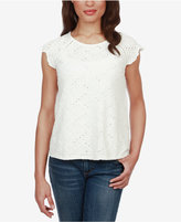 Lucky Brand Cotton Eyelet-Lace Flutter-Sleeve Top