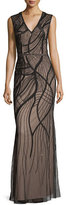 Aidan Mattox Sleeveless Embroidered Mesh Column Gown, Black/Light Mink