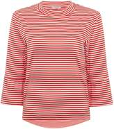 Maison Scotch Red and white striped t shirt with flared sleeve
