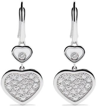 Chopard 18kt white gold Happy Hearts diamond drop earrings