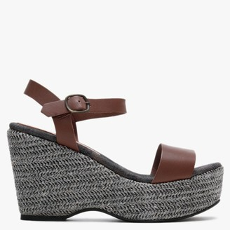 Carmen Saiz Brown Leather Woven Platform Wedge Sandals