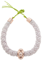 Cabinet Cabochon Pearl Silk Rope Collar Necklace, Oyster