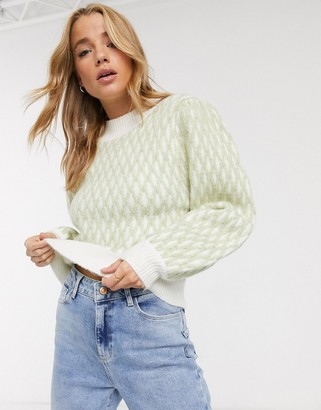 Asos DESIGN grid stich pattern sweater in recycled blend