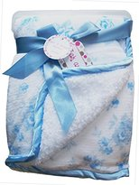 Zak & Zoey Ultra Soft Sherpa Blue Rose Baby Blanket, 30 X 40 Inches