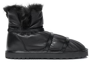 Stuart Weitzman Shearling-trimmed Gathered Leather Ankle Boots