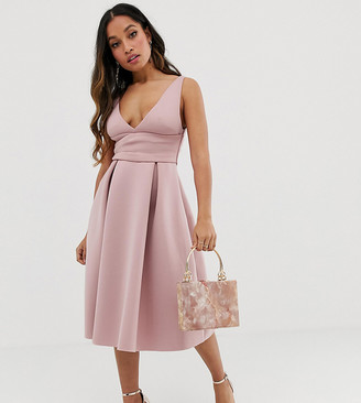 ASOS DESIGN Petite prom midi dress with wrap waist detail
