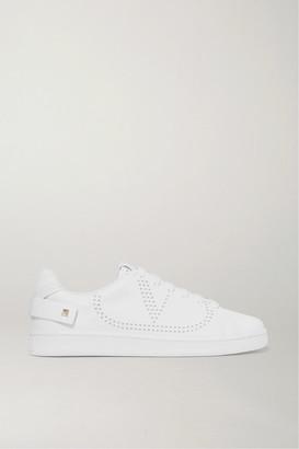 Valentino Garavani Backnet Perforated Leather Sneakers - White