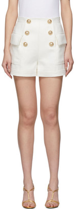 Balmain White High-Waist 6-Button Shorts
